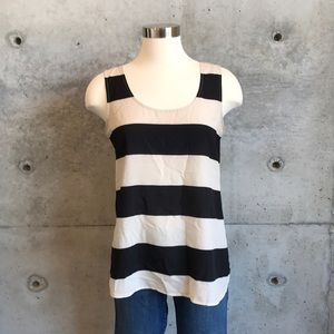 LOFT Black and Cream Striped Tank